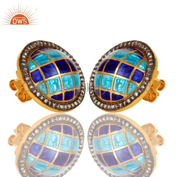 Exporter 18K Yellow Gold Plated Sterling Silver CZ And Vintage Enamel Design Stud Earring