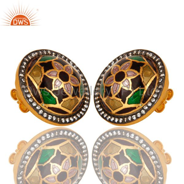 Exporter 22K Yellow Gold Plated Sterling Silver CZ And Floral Enamel Design Stud Earrings