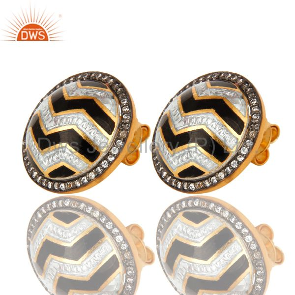 Exporter 18K Gold Plated Sterling Silver Black And White Enamel Design Stud Earrings