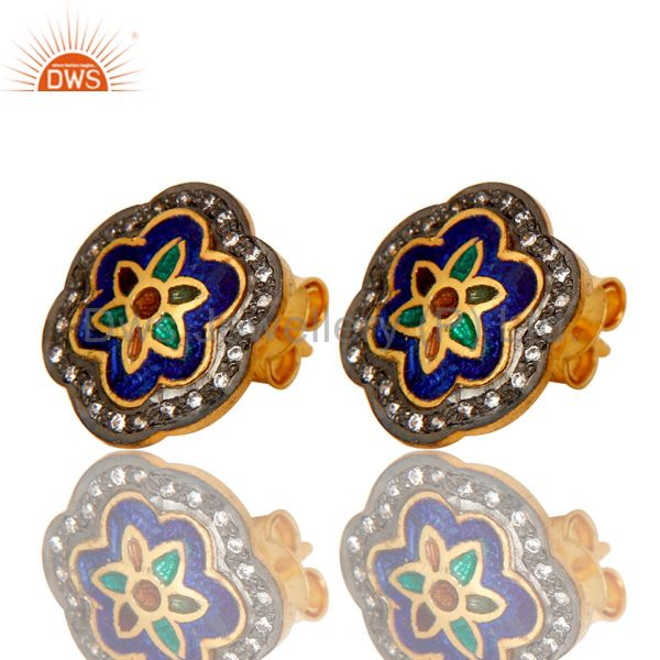 Exporter 18K Gold Plated Sterling Silver Enamel Work Ethnic Fashion Stud Earrings With CZ