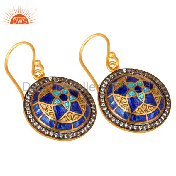 Exporter 22K Yellow Gold Plated Sterling Silver CZ And Enamel Design Disc Dangle Earrings