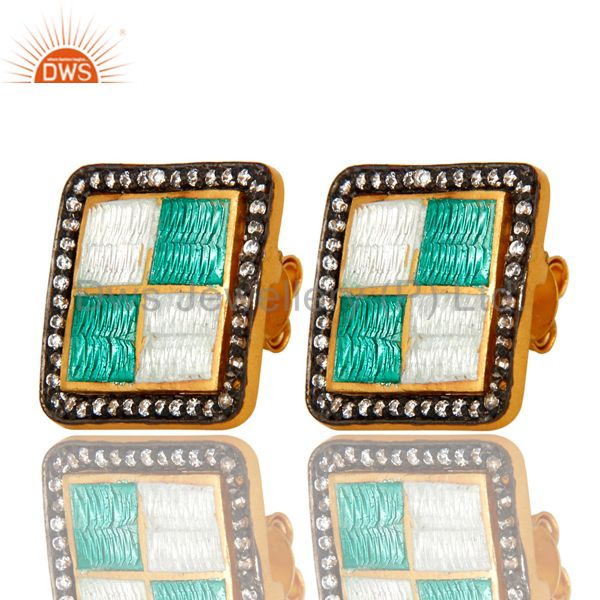 Exporter 22K Yellow Gold Plated Sterling Silver CZ And Enamel Design Square Stud Earrings