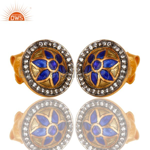 Exporter 22K Yellow Gold Plated Sterling Silver CZ And Enamel Design Round Stud Earrings