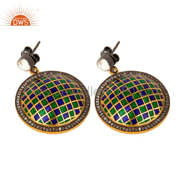 Exporter 22K Gold Plated Sterling Silver CZ Polki And Enamel Design Round Stud Earrings