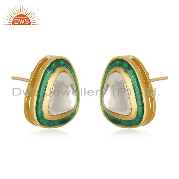 Exporter Gold Plated Sterling Silver Crystal Quartz Polki Stud Earrings With Green Enamel