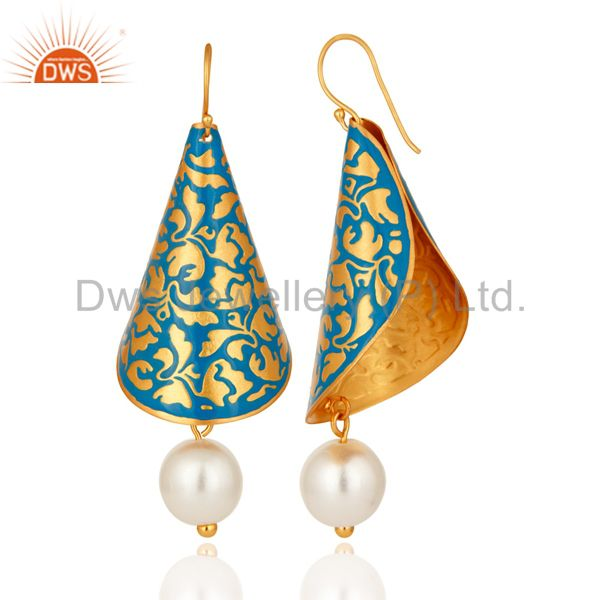 Exporter Natural Pearl Blue Enamel Indian Artisan Made Designer Earrings With Gold Vermei
