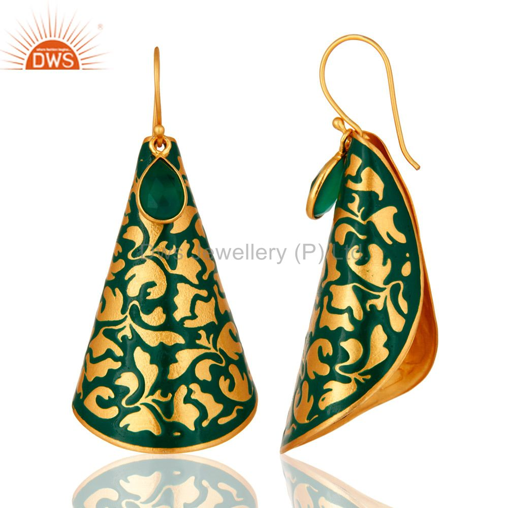 Exporter Designer Green Onyx Gemstone 18K Gold Plated Earrings With Green Enamel Paint