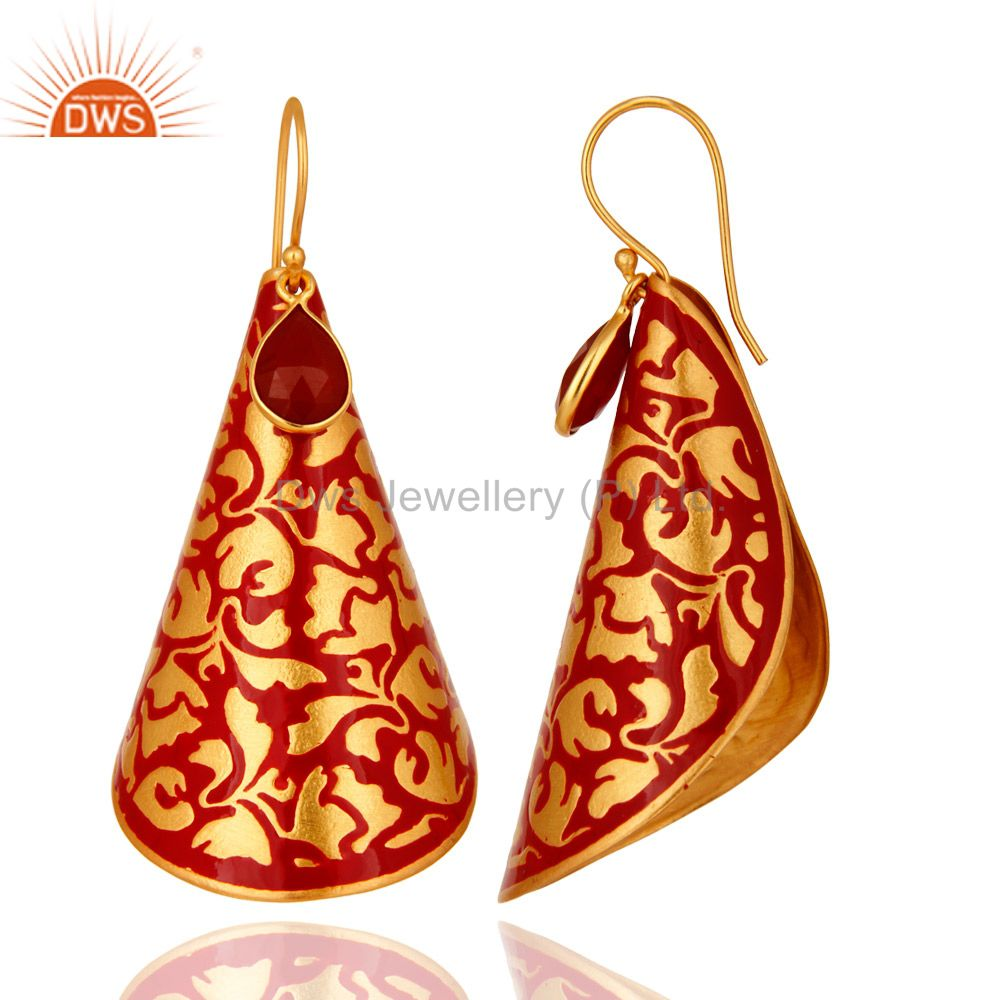 Exporter Red Onyx Gemstone 14K Yellow Gold Plated Dangle Earrings With Red Enamel