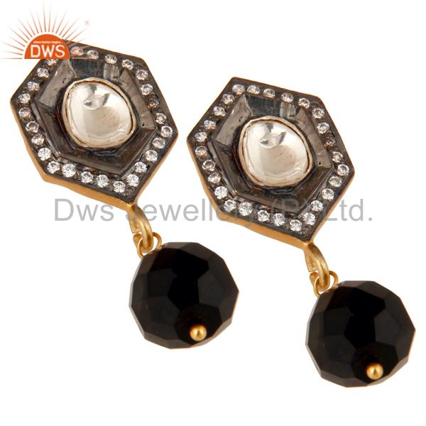 Exporter Black Onyx and Crystal Polki Black and Yellow Gold Plated 925 Silver Earring