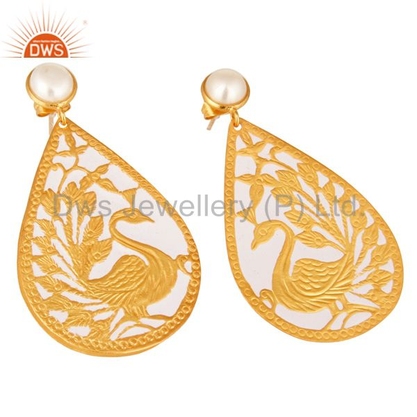 Exporter 18K Gold Plated Natural Pearl Handmade Designer Peacock Earrings - White Enamel