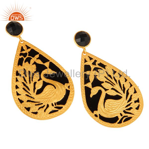 Exporter 18K Gold Plated Natural Black ONyx Peacock Designer Earrings With Black Enamel
