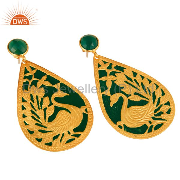 Exporter 18K Yellow Gold Over Brass Handmade Green Onyx Designer Peacock Dangle Earrings