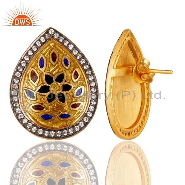 Exporter 18K Gold Plated 925 Sterling Silver White Zirconia Enamel Studs Earrings