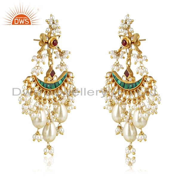 Exporter Indian Handmade Kundan Meena 925 Silver Traditional Earrings Manufacturer