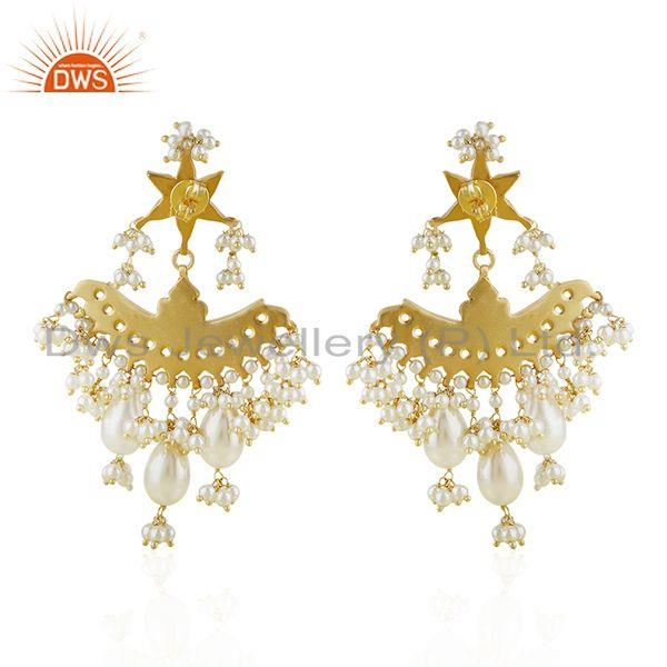 Exporter Natural White Pearl Gold Plated 925 Silver Traditional Kundan Earring Wholesaler