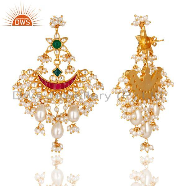 Exporter Beautiful Multi Color Pearl Beads Chandelier Earring Made In 925 Sterling Silver