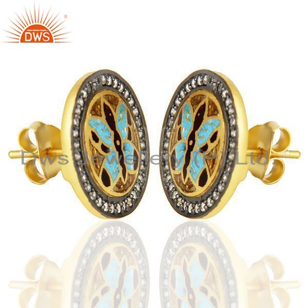 Exporter 14K Gold Plated 925 Sterling Silver Butterfly Design White Zircon Studs Earring