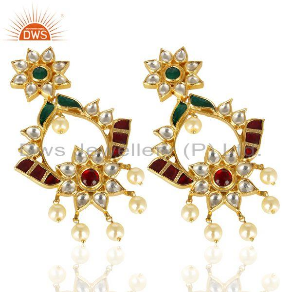 Exporter Kundan Polki 92.5 Sterling Silver South Traditional Dangle Earring