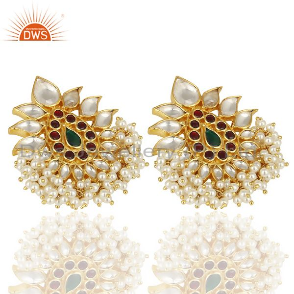 Exporter 14K Gold Plated 925 Sterling Silver Pearl Beads Chandelier Studs Earrings