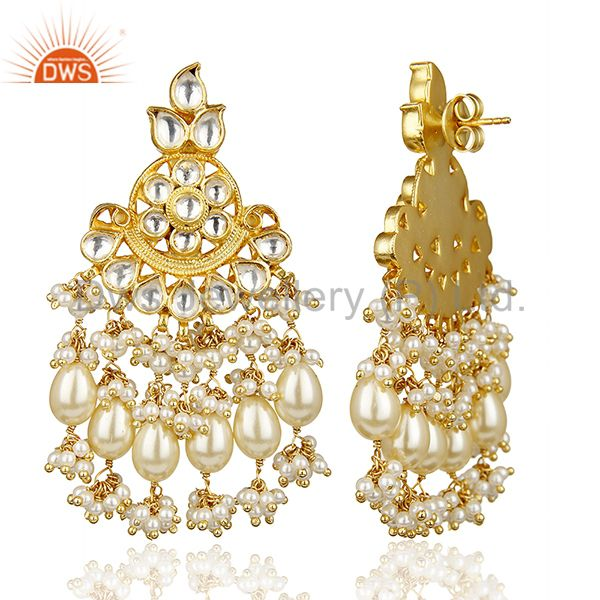 Exporter Silver Gold Plated Pearl Floral Traditional Kundan Polki Earring