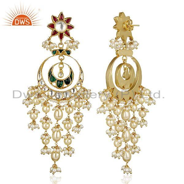 Exporter Bollywood Designer Antique Kundan Sterling Silver Gold Plated Earring Jewelry