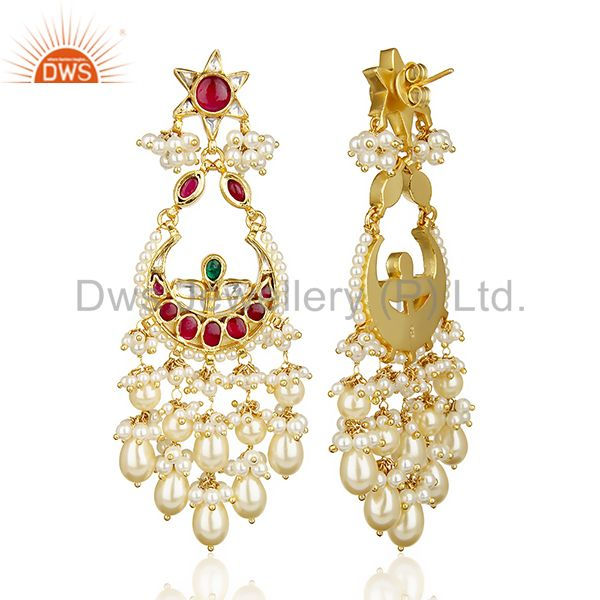 Exporter Traditional Silver Gold Plated Red And Green Chandbali South Indian Jewelry