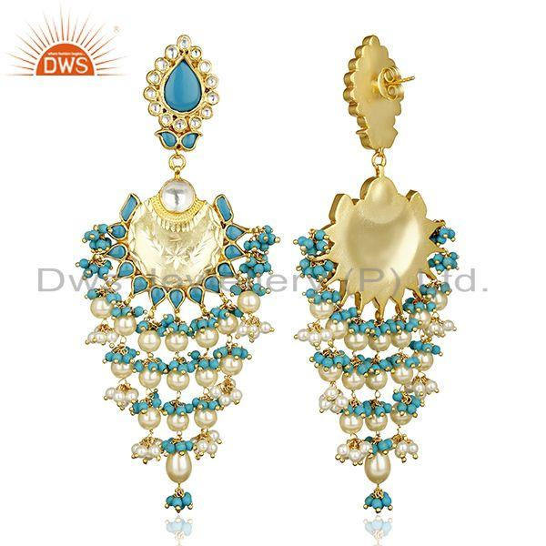 Exporter Turquoise Long Indian Chendelier Crescent Half Moon Chand Bali Silver Earring
