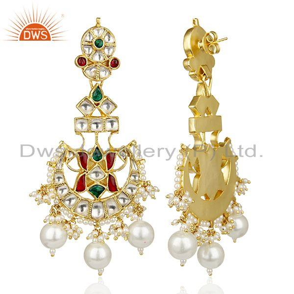 Exporter Southern Pearls Traditional Kundan Polki Gold Plated Silver Bridal Earring