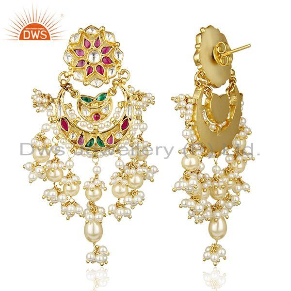 Exporter Festivity Stunner Gold Plated Bridal Indian Polkii Wholesale Silver Jewelry