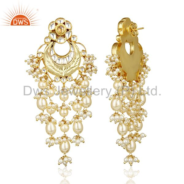 Exporter Artistry Precision Handcrafted Gold Plated Pearl Dangle Silver Bridal Earring