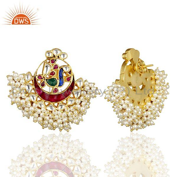 Exporter Peacock Multi Color Chandbali Kundan Polki Traditional Gold Plated Earring