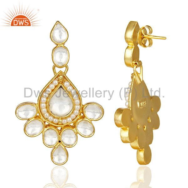 Exporter Polki Embelished Traditional Gold Plated Silver Bridesmaid Earring
