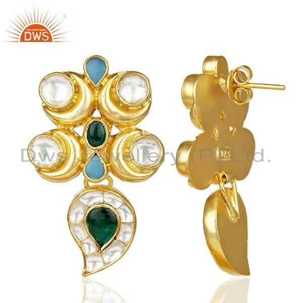 Exporter Beautiful Traditional Indian Bridal Gold Plated silver Pearl Studded Earring