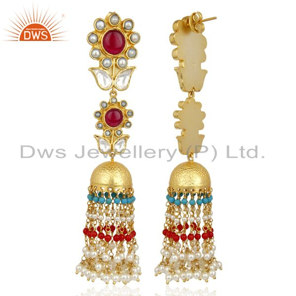 Exporter Red Green Multy Long Jhumka Dangle Silver Jewelry Earring