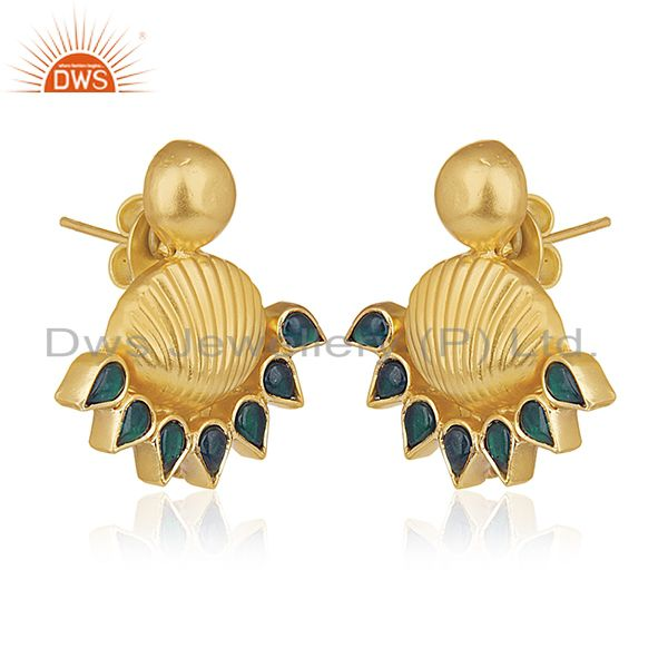 Exporter Indian Traditional 925 Silver Gold Plated Kundan Stud Earrings Manufacturers