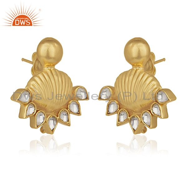 Exporter 18k Gold Plated 925 Silver White Kundan Traditional Stud Earrings Wholesale