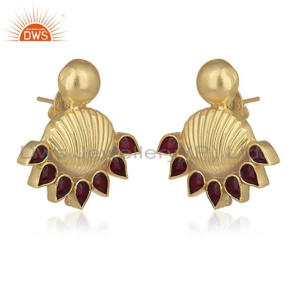 Exporter Red Stone Gold Plated Traditional Gold Plated Post Stud Wholesale Earring