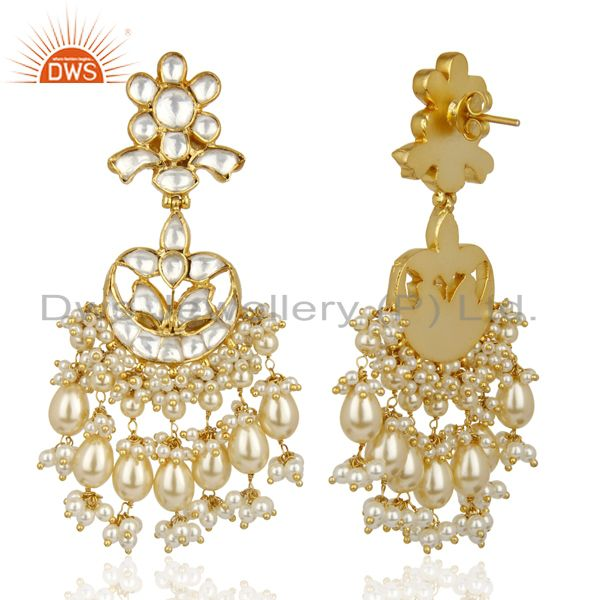 Exporter Silver Jadau Polki Kundan Traditional Dangle Gold Plated Wholesale Earring