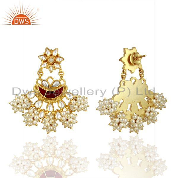 Exporter Handcreafted Pearl Traditional Chandbali Silver Earring