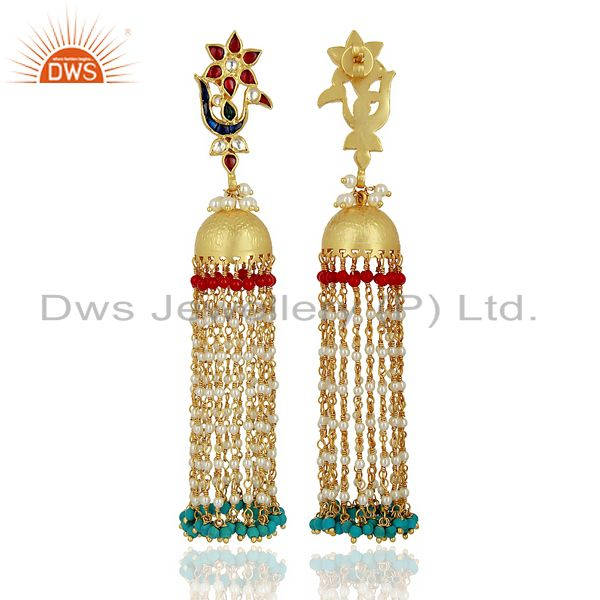 Exporter Peacock Colored Stone Jhumkas 925 Sterling Silver Gold Plated Kundan Jewelry