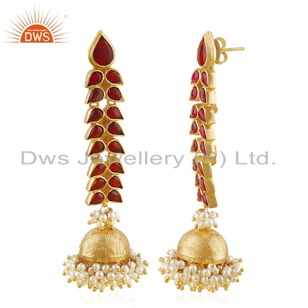 Exporter Indian Traditional Kundan Natural Pearl Silver Jhumka Earring Manufacturer