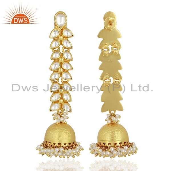 Exporter Traditional Kundan 925 Sterling Silver Gold Plated Jhumka Earring Jewelry