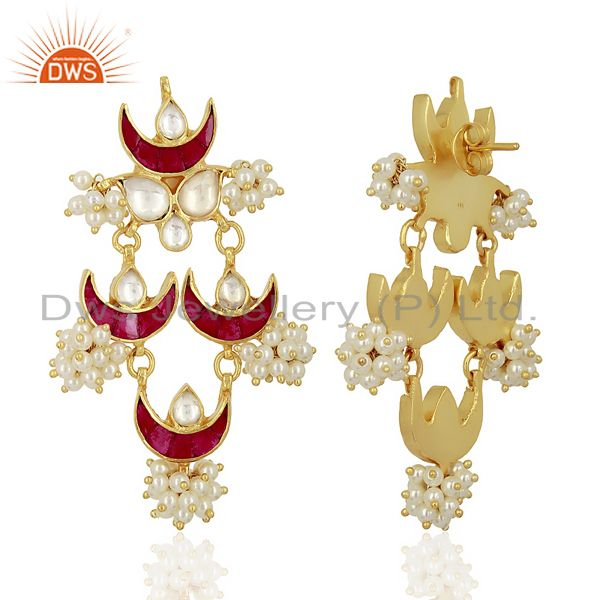 Exporter Kundan Polki 925 Sterling Silver Gold Plated Chandelier Earring Jewelry