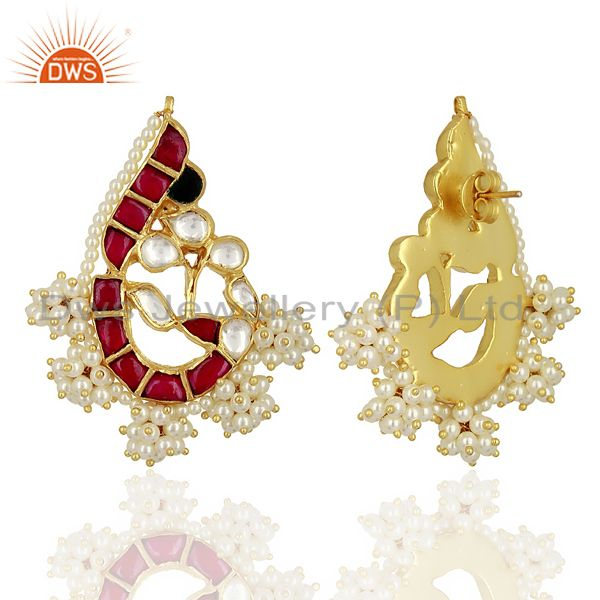 Exporter Kundan Polki Peacock Inspired Sterling Silver Gold Plated Traditional Jewelry