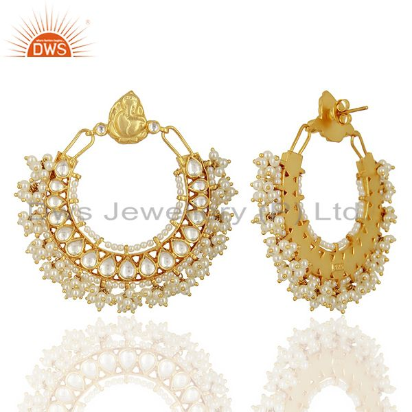 Exporter Kundan Polki 92.5 Sterling Silver Gold Plated Chand Bali Temple Jewelry