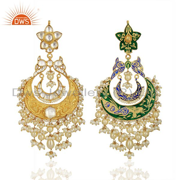 Exporter Beautiful Chandbali With Meena Work Sterling Silver Gold Plated Kundan Jewelry