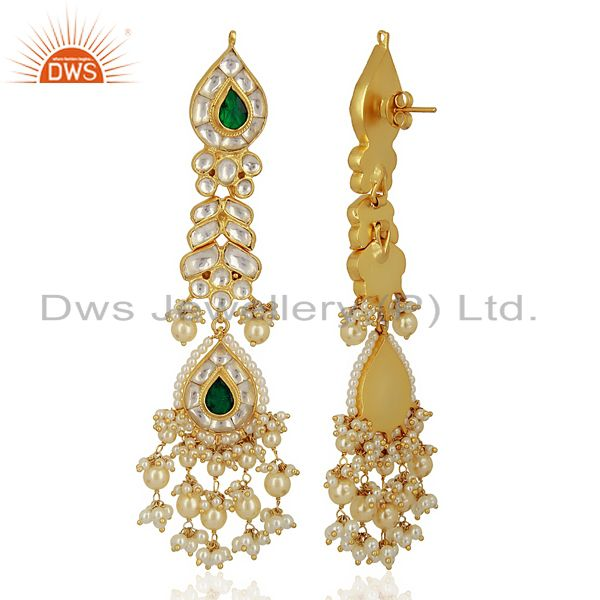 Exporter Kundan Polki Sterling Silver Gold Plated Bridal Wedding Jewelry Earring
