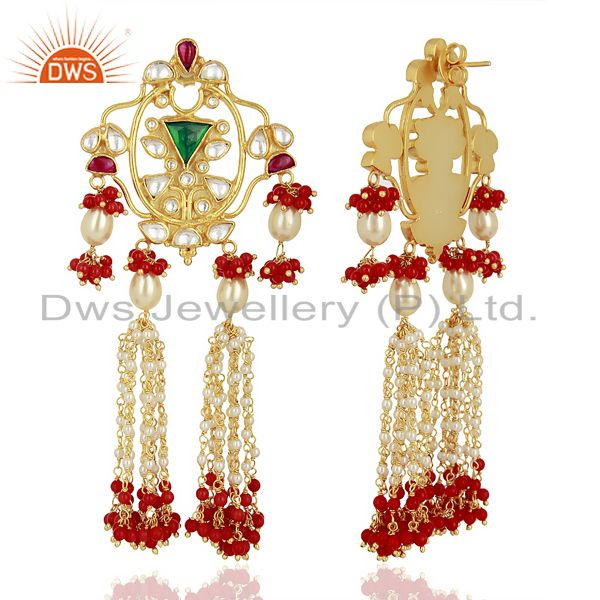 Exporter Indian Designer 92.5 Sterling Silver Gold Plated Chandelier Earring Jewelry