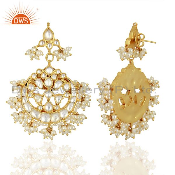 Exporter Kundan Polki With Pearl Drop 92.5 Sterling Silver Gold Plated  Indian Jewelry