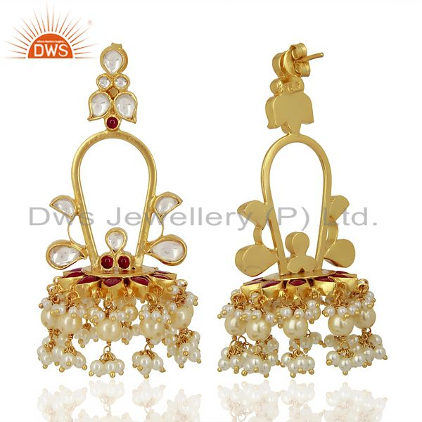 Exporter Royal kundan Long Jhumki  Sterling Silver Gold Plated Indian Traditional Jewelry